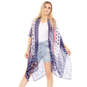 Red, White & Blue American USA Flag Kimono Poncho USA Flag Cover Up Beachwear is made easy, relaxed silhouette, perfectly breezy & laid-back, an accessory easy to pair with many tops, elevating any casual outfit! Perfect Gift! Independence Day, 4th of July, Memorial Day, Flag Day, Labor Day, Election Day, Veterans Day, President Day