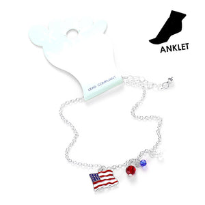 Red White Blue Anklet Patriotic Anklet Flag Anklet USA Anklet Beaded Anklet Charm Anklet Patriotic Jewelry