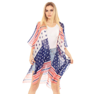 Red White Blue Striped American Flag Kimono USA Flag Cover up Beachwear is made easy, relaxed silhouette, perfectly breezy & laid-back, an accessory easy to pair with many tops, elevating any casual outfit! Perfect Gift! Independence Day, 4th of July, Memorial Day, Flag Day, Labor Day, Election Day, Veterans Day, President Day