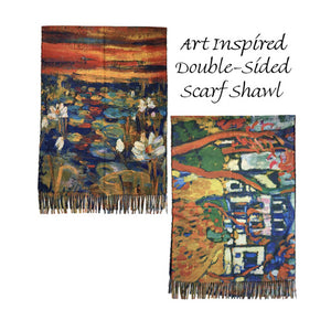 Fashion Fine Art Inspired Double-Sided Shawl Cozy Reversible Art Scarf Winter Shawl, you will receive many compliments when wearing this Beautiful Art Inspired Scarf cashmere feel, warm & eye-catching, will be your new favorite. Perfect Gift Birthday, Christmas, Anniversary, Holiday, Valentine's day, Wife, Mom, Sister