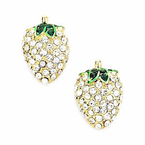 "Crystal Embellished Strawberry Stud Earrings. Strawberry design for a delicate dose of feminine flair. Collection: Fruit• Color: Clear/Gold & Clear/Rhodium• Size : 0.5"" W, 0.75"" L• Post Back"