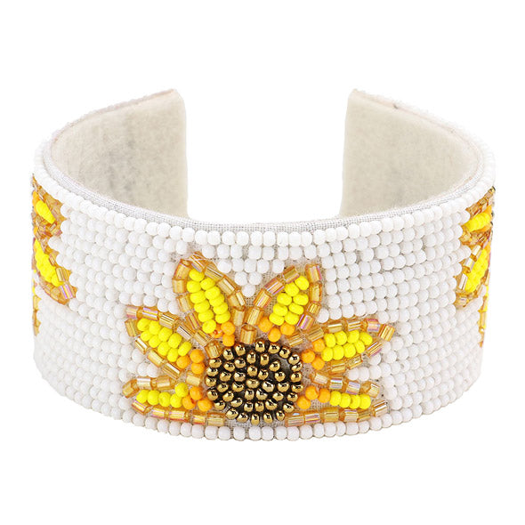 Yellow Sunflower Cuff Bracelet, Handcrafted Sunflower Cuff, jewelry that fits your lifestyle adding a pop of pretty color. Enhance your attire with this vibrant beautiful modish sunflower cuff bracelet. Perfect Birthday Gift, Mother's Day Gift, Anniversary Gift, Thank you Gift, complete your Easter Ensemble, Sunflower Jewelry, Statement Bracelet