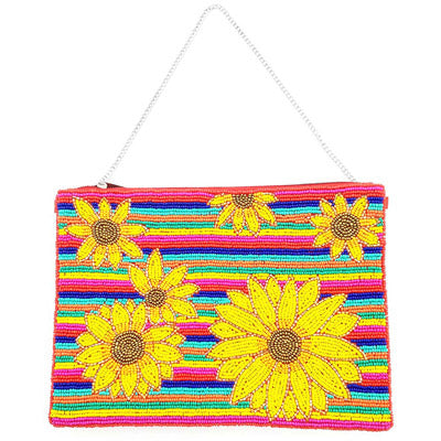 Serape Sunflower Clutch Bag, Vibrant Clutch Bag, Multi Color Sunflower Clutch, Sunflower Crossbody Bag, Perfect Birthday Gift, Valentine's Day Gift, Anniversary Gift, Loved One Gift, Mother's Day Gift, Vacation Ready, Sunflower Clutch Bag, Seed Bead Handbag, Handcrafted Handbag, Beach Crossbody Bag, Beaded Handbag