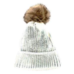 Shimmery Silver Painted Faux Fur Pom Pom Beanie Hat Painted Hat Pom Pom Hat Winter Hat, warm & cozy, this winter hat adds a glitzy sparkle to your wardrobe on chilly days. Classic, trendy & chic easy to match your ensemble. Perfect Gift Birthday, Christmas, Holiday, Stocking Stuffers, Anniversary, Valentine's Day, Loved One