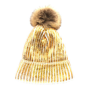 Shimmery Gold Painted Faux Fur Pom Pom Beanie Hat Painted Hat Pom Pom Hat Winter Hat, warm & cozy, this winter hat adds a glitzy sparkle to your wardrobe on chilly days. Classic, trendy & chic easy to match your ensemble. Perfect Gift Birthday, Christmas, Holiday, Stocking Stuffers, Anniversary, Valentine's Day, Loved One
