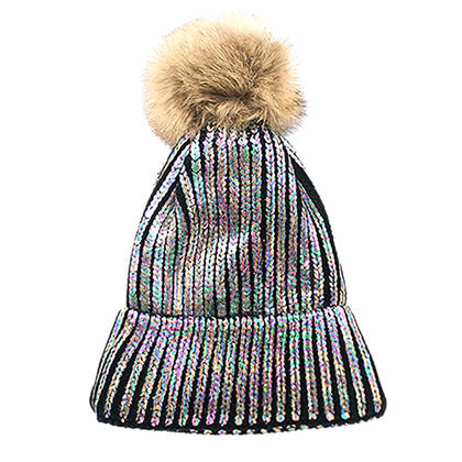 Shimmery Gunmetal Painted Faux Fur Pom Pom Beanie Hat Painted Hat Pom Pom Hat Winter Hat, warm & cozy, this winter hat adds a glitzy sparkle to your wardrobe on chilly days. Classic, trendy & chic easy to match your ensemble. Perfect Gift Birthday, Christmas, Holiday, Stocking Stuffers, Anniversary, Valentine's Day, Loved One