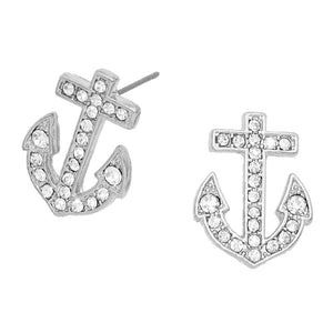 Silver Crystal Pave Anchor Earrings, add a a nautical theme to your outfit with this beautiful crystal pave anchor earrings. Add a polished look to your outfit, be vacation ready with these cute stud earrings. Perfect Birthday Gift, Mother's Day Gift, Anniversary Gift, Vacation Getaway, Thank you Gift, Nautical Jewelry