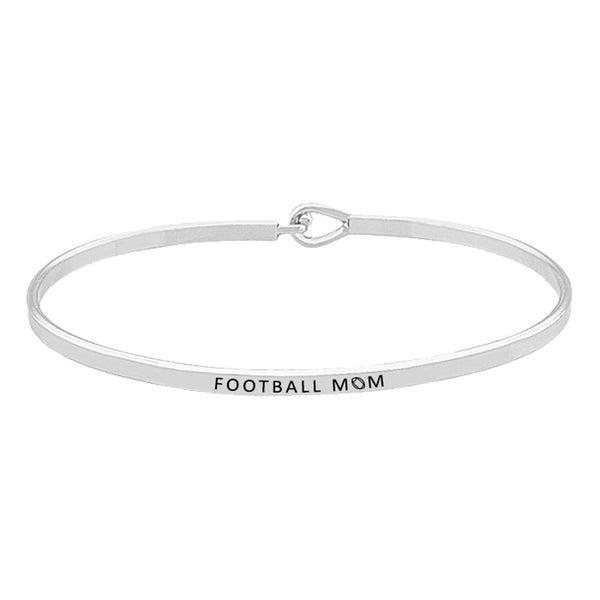 """Football Mom"" Brass Thin Metal Hook Bracelet Thin Metal Football Mom Hook Bracelet, wear with your favorite tops & dresses all year round! Thank mom for supporting you at your football games, let her know how much she is loved and appreciated. Great Birthday Gift, Mother's Day Gift, Just Because Gift, Thank you Gift"
