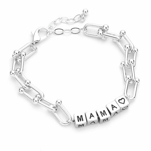 Silver MAMA Metal Cube Message Bracelet, with your favorite tops & dresses! Show mom how special, appreciated & loved she is with this fabulous gift. Perfect for Birthday Gift, Mother's Day Gift, Thank you Gift or Just Because! Regalo Dia de las Madres, Regalo para Mama, MAMA Metal Cube Bracelet