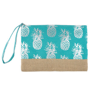 Silver Metallic Pineapple Pouch Bag, perfect for money, credit cards, keys or coins, comes with a wristlet strap for easy carrying. Great for running errands while keeping your hands free. Perfect Birthday Gift, Mother's Day Gift, Anniversary Gift, Vacation Getaway, Thank you Gift, Just Because Gift, Turquoise Pineapple Wristlet
