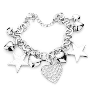 Multi Charm Link Bracelet, Silver Rhinestone Embellished Heart Metal Star Charm Bracelet  exquisite beautifully crafted charms add a gorgeous glow to any outfit. Perfect Birthday Gift, Anniversary Gift, Mother's Day Gift, Anniversary Gift, Graduation Gift, Prom Jewelry, Just Because Gift, Thank you Gift, Keepsake Gift, Mom Gift, Crystal heart Bracelet