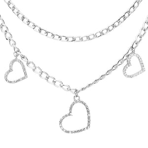 Silver Metal Chain Crystal Pave Heart Necklace, Rhinestone Embellished Heart Pendant Double Layered Necklace show your mom love with this beautiful Heart necklace pair with any outfit. Perfect Birthday Gift, Anniversary Gift, Mother's Day Gift, Graduation Gift, Prom Jewelry, Just Because Gift, Thank you Gift, Keepsake Gift, Mom Gift, Bridesmaid, Bridal, Wedding