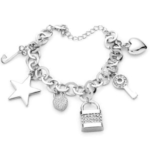 Multi Charm Link Bracelet, Silver Rhinestone Embellished Key Lock Metal Star Heart Charm Bracelet exquisite beautifully crafted charms add a gorgeous glow to any outfit. Perfect Birthday Gift, Anniversary Gift, Mother's Day Gift, Anniversary Gift, Graduation Gift, Prom Jewelry, Just Because Gift, Thank you Gift, Keepsake Gift