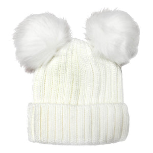 Soft Cable Knit Double Faux Fur Pom Pom Beanie Hat Warm Knit Winter Hat Cable Knit Beanie hat, be warm & cozy with this winter hat while adding a pop of color to your ensemble. Classic, trendy & chic to match your stylish fashion. Perfect Gift, Birthday, Christmas, Holiday, Anniversary, Valentine's Day, Wife, Daughter