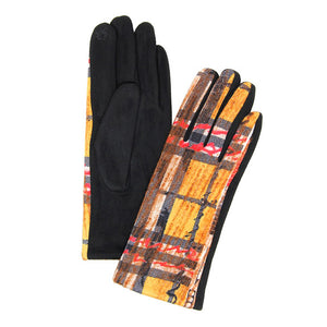 Soft Classic Plaid Check Abstract Brush Smart Touch Gloves Warm Plaid Gloves Abstract Gloves Touchscreen Gloves, cozy warm design giving it a trendy, chic style to any stylish winter wardrobe. Tech-friendly, stretches for a snug fit. Perfect Gift Birthday Christmas, Holiday, Anniversary, Valentine's Day, Loved One, etc
