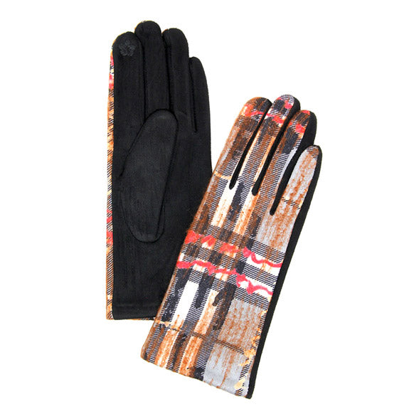Adalet Soft Classic Plaid Check Abstract Brush Smart Touch Gloves Warm Plaid Gloves Abstract Gloves Touchscreen Gloves