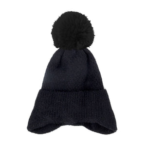 Soft Black Earflap Knit Pom Pom Beanie Hat Cold Weather Hat Ear Warmer, warm & cozy, this earflap winter hat adds a nice touch to your wardrobe on windy chilly days. Classic, trendy & chic easy to match your ensemble. Perfect Gift Birthday, Christmas, Holiday, Stocking Stuffers, Anniversary, Valentine's Day, Loved One
