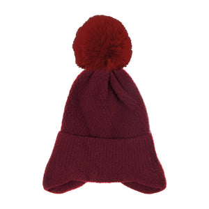 Soft Burgundy Earflap Knit Pom Pom Beanie Hat Cold Weather Hat Ear Warmer, warm & cozy, this earflap winter hat adds a nice touch to your wardrobe on windy chilly days. Classic, trendy & chic easy to match your ensemble. Perfect Gift Birthday, Christmas, Holiday, Stocking Stuffers, Anniversary, Valentine's Day, Loved One
