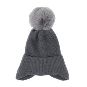 Soft Gray Earflap Knit Pom Pom Beanie Hat Cold Weather Hat Ear Warmer, warm & cozy, this earflap winter hat adds a nice touch to your wardrobe on windy chilly days. Classic, trendy & chic easy to match your ensemble. Perfect Gift Birthday, Christmas, Holiday, Stocking Stuffers, Anniversary, Valentine's Day, Loved One