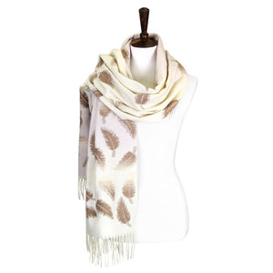 Soft Ivory Tonal Leaf Pattern Tassel Scarf Ivory Leaf Scarf Leaf Wrap Leaf Shawl Oblong Scarf Tassel Scarf accents your look with this soft, highly versatile oblong scarf. A chic look to keep you warm in fall & winter, classic long scarf is an easy choice to fight against the cold of winter. Perfect Gift Birthday, Christmas, Anniversary, Valentine's Day