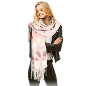 Soft Pink Tonal Leaf Pattern Tassel Scarf Pink Leaf Scarf Leaf Wrap Leaf Shawl Oblong Scarf Tassel Scarf accents your look with this soft, highly versatile oblong scarf. A chic look to keep you warm in fall & winter, classic long scarf is an easy choice to fight against the cold of winter. Perfect Gift Birthday, Christmas, Anniversary, Valentine's Day