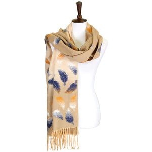 Soft Beige Tonal Leaf Pattern Tassel Scarf Beige Leaf Scarf Leaf Wrap Leaf Shawl Oblong Scarf Tassel Scarf accents your look with this soft, highly versatile oblong scarf. A chic look to keep you  warm in fall & winter, classic long scarf is an easy choice to fight against the cold of winter. Perfect Gift Birthday, Christmas, Anniversary, Valentine's Day