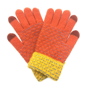 Soft Warm Rust Pop Stitch Smart Touch Gloves Cozy Stitch Accent Knit Gloves, cozy warm design giving it a trendy, chic style to any stylish winter wardrobe. The pop stitch adds an eye-catching detail. Tech-friendly, stretches for snug fit. Perfect Gift Birthday Christmas, Holiday, Anniversary, Valentine's Day, Loved One, etc