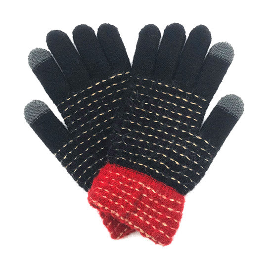 Soft Warm Black Pop Stitch Smart Touch Gloves Cozy Stitch Accent Knit Gloves, cozy warm design giving it a trendy, chic style to any stylish winter wardrobe. The pop stitch adds an eye-catching detail. Tech-friendly, stretches for snug fit. Perfect Gift Birthday Christmas, Holiday, Anniversary, Valentine's Day, Loved One, etc