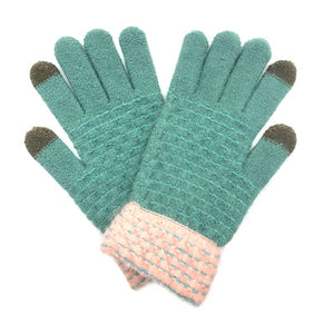 Soft Warm Mint Pop Stitch Smart Touch Gloves Cozy Stitch Accent Knit Gloves, cozy warm design giving it a trendy, chic style to any stylish winter wardrobe. The pop stitch adds an eye-catching detail. Tech-friendly, stretches for snug fit. Perfect Gift Birthday Christmas, Holiday, Anniversary, Valentine's Day, Loved One, etc