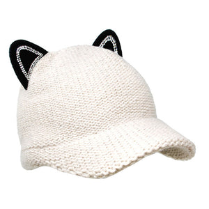 Cozy Solid White Cat Ear Slouchy Newsboy Cap Solid White Cat Ear Slouchy Cap Winter Hat, reach for this toasty hat to keep you incredibly warm when running out the door. Accessorize with this cat ear hat, it's the autumnal touch finish your outfit in style. Perfect Gift Birthday, Christmas, Night Out, Cold Weather, Valentine's Day