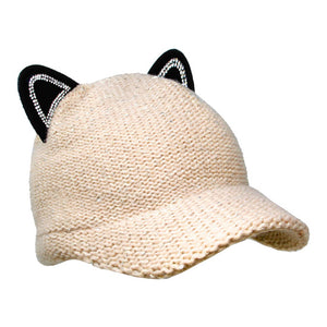 Cozy Solid Beige Cat Ear Slouchy Newsboy Cap Solid Beige Cat Ear Slouchy Cap Winter Hat, reach for this toasty hat to keep you incredibly warm when running out the door. Accessorize with this cat ear hat, it's the autumnal touch finish your outfit in style. Perfect Gift Birthday, Christmas, Night Out, Cold Weather, Valentine's Day