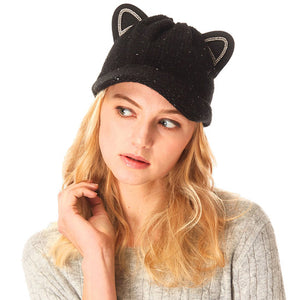 Cozy Solid Black Cat Ear Slouchy Newsboy Cap Solid Black Cat Ear Slouchy Cap Winter Hat, reach for this toasty hat to keep you incredibly warm when running out the door. Accessorize with this cat ear hat, it's the autumnal touch finish your outfit in style. Perfect Gift Birthday, Christmas, Night Out, Cold Weather, Valentine's Day
