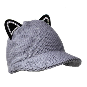 Cozy Solid Gray Cat Ear Slouchy Newsboy Cap Solid Gray Cat Ear Slouchy Cap Winter Hat, reach for this toasty hat to keep you incredibly warm when running out the door. Accessorize with this cat ear hat, it's the autumnal touch finish your outfit in style. Perfect Gift Birthday, Christmas, Night Out, Cold Weather, Valentine's Day