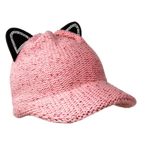 Cozy Solid Pink Cat Ear Slouchy Newsboy Cap Solid Pink Cat Ear Slouchy Cap Winter Hat, reach for this toasty hat to keep you incredibly warm when running out the door. Accessorize with this cat ear hat, it's the autumnal touch finish your outfit in style. Perfect Gift Birthday, Christmas, Night Out, Cold Weather, Valentine's Day