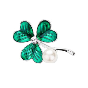 St Patrick's Day Clover Pearl Pin Brooch Green Clover Brooch Pin, perfect to accent your love for the Irish. The luck of the Irish will be with this year, these cute shamrock are the perfect accessory to finish off any festive look. Show your Irish pride, spread some Paddy magic, good luck, good cheer, Irish magic