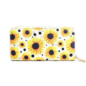 Yellow Vibrant Floral Wallet, Yellow Sunflower Wallet, Sunflower PVC Wallet, Fashion Handbag Zipper Wallet, Zipper Coin Pocket, Zipper Closure Wallet, Sunflower Print Wallet, Perfect Birthday Gift, Valentine's Day Gift, Anniversary Gift, Love You Gift, Mother's Day Gift, Thank you Gift, Spring Wallet, Summer Wallet