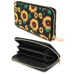 Black Vibrant Floral Wallet, Yellow Sunflower Wallet, Sunflower PVC Wallet, Fashion Handbag Zipper Wallet, Zipper Coin Pocket, Zipper Closure Wallet, Sunflower Print Wallet, Perfect Birthday Gift, Valentine's Day Gift, Anniversary Gift, Love You Gift, Mother's Day Gift, Thank you Gift, Spring Wallet, Summer Wallet