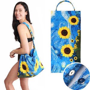 Sunflower Starry Night Print Beach Towel and Tote Bag, Starry Night Beach Towel enjoy summer vibes, day at the beach, pool, vacay! Toss your bathing suit, suntan lotion, get ready to go. Great Birthday Gift, Anniversary Gift, Mother's day gift, Beach Accessory, Getaway, Vacation, Pool, Sunflower Beach Towel in a Tote