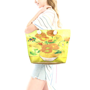 Sunflower Tote Bag Vibrant Beach Bag whether you are out shopping, at the pool or beach, this bright tote bag is the perfect accessory. Spacious enough for carrying all your essentials. Birthday Gift, Anniversary Gift, Sunflowers by Vincent Van Gogh Print Beach Tote Bag, Mother's Day Gift, Soft Rope Handles The Must Have Accessory!