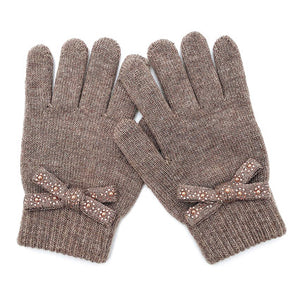 Pearl Stone Embellished Bow Gloves Warm Winter Gloves Soft Knit Gloves, cozy warm design giving it a trendy, chic style to any stylish winter wardrobe. Embellished bow adds just enough of an eye-catching detail & keep you snuggly. Perfect Gift Birthday Christmas, Holiday, Anniversary, Valentine's Day, Loved One, etc