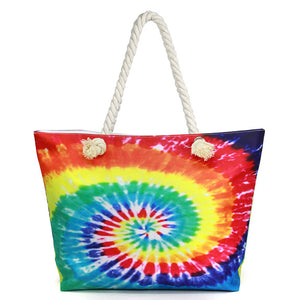 Multi Color Tie Dye Beach Bag Shopper Bag Vibrant Beach Tote Bag great whether you are out shopping, going to the pool or beach, this bright tote bag is the perfect accessory. Spacious enough for carrying all your essentials. Great Beach, Vacation, Pool, Birthday Gift, Anniversary Gift, Chic Multi Tie Dye Beach Bag, Soft Rope Handles The Must Have Accessory!