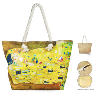 The Kiss by Gustav Klimt Print Beach Bag The Kiss Tote Bag Shopper Bag Art in Fashion