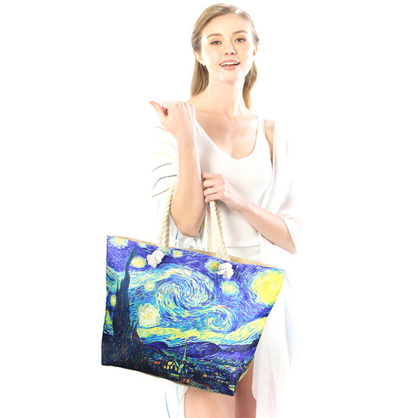 The Starry Night by Vincent Van Gogh Print Beach Tote Bag Shopper Bag Vibrant Beach Bag whether you are out shopping, at the pool or beach, this bright tote bag is spacious enough for carrying all your essentials. Birthday Gift, Anniversary Gift, The Starry Night by Van Gogh Print Beach Tote Bag Shopper Bag, Mother's Day Gift, Thank you Gift, Comfy Rope Handles The Must Have Accessory!