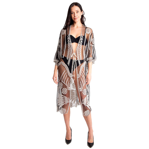 Black Lace Cover up Kimono Tie knot Closure Beach, Poolside chic made easy with this lightweight Cover up Lace Tie Knot Kimono featuring relaxed silhouette, great over your swimsuit or wear over your favorite camis, blouse & slacks, Perfect Birthday Gift, Anniversary Gift, Mother's Day Gift, Graduation Gift, Thank You Gift, Black Lace Kimono Cover Up Beachwear