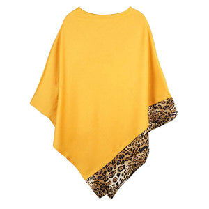 Mustard Leopard Trim Solid Poncho Mustard Leopard Trim Poncho Leopard Trim Ruana Shawl, cozy, warm pullover ladies animal print trim poncho makes the perfect fashion statement this winter, Slip this on to add instant gorgeousness to your look! Perfect Gift Birthday, Christmas, Anniversary, Holiday, Valentine;s Day, Sister, Mom, Wife