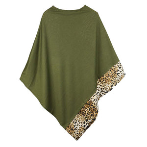 Olive Leopard Trim Solid Poncho Olive Leopard Trim Poncho Leopard Trim Ruana Shawl, cozy, warm pullover ladies animal print trim poncho makes the perfect fashion statement this winter, Slip this on to add instant gorgeousness to your look! Perfect Gift Birthday, Christmas, Anniversary, Holiday, Valentine;s Day, Sister, Mom, Wife
