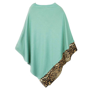 Mint Leopard Trim Solid Poncho Mint Leopard Trim Poncho Leopard Trim Ruana Shawl, cozy, warm pullover ladies animal print trim poncho makes the perfect fashion statement this winter, Slip this on to add instant gorgeousness to your look! Perfect Gift Birthday, Christmas, Anniversary, Holiday, Valentine;s Day, Sister, Mom, Wife