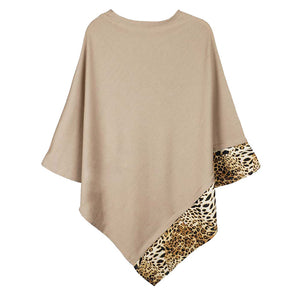 Taupe Leopard Trim Solid Poncho Taupe Leopard Trim Poncho Leopard Trim Ruana Shawl, cozy, warm pullover ladies animal print trim poncho makes the perfect fashion statement this winter, Slip this on to add instant gorgeousness to your look! Perfect Gift Birthday, Christmas, Anniversary, Holiday, Valentine;s Day, Sister, Mom, Wife