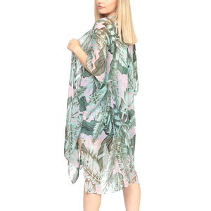 Tropical Leaf Print Kimono, Beach, Poolside chic made easy with this lightweight Tropical Leaf Print Cover Up featuring relaxed silhouette, great over your swimsuit or wear over your favorite blouse & slacks, Perfect Birthday Gift, Anniversary Gift, Mother's Day Gift, Graduation Gift, Tropical Beachwear, Tropical Leaf Poncho, Tropical Leaf Kimono