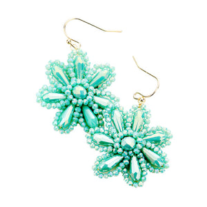 Turquoise Beaded Flower Earrings, jewelry that fits your lifestyle adding a pop of pretty color. Enhance your attire with this vibrant beautiful modish daisy dangle earrings. Perfect Birthday Gift, Mother's Day Gift, Anniversary Gift, Thank you Gift, complete your Easter Ensemble, Daisy Jewelry, Floral Earrings, Flower Earrings